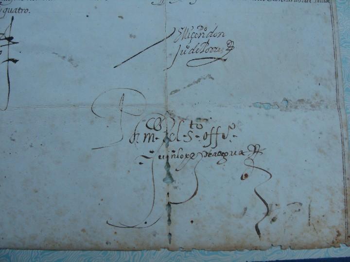 Manuscritos antiguos: 1594. PERGAMINO. INQUISICIÓN. CABRA, CÓRDOBA. NOMBRAMIENTO, SELLO, FIRMAS. - Foto 6 - 103705011