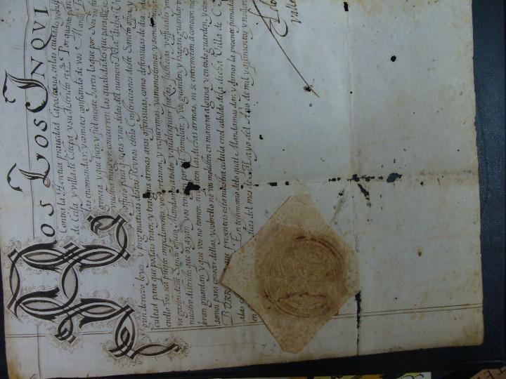 Manuscritos antiguos: 1594. PERGAMINO. INQUISICIÓN. CABRA, CÓRDOBA. NOMBRAMIENTO, SELLO, FIRMAS. - Foto 7 - 103705011