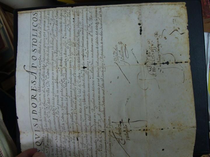 Manuscritos antiguos: 1594. PERGAMINO. INQUISICIÓN. CABRA, CÓRDOBA. NOMBRAMIENTO, SELLO, FIRMAS. - Foto 8 - 103705011