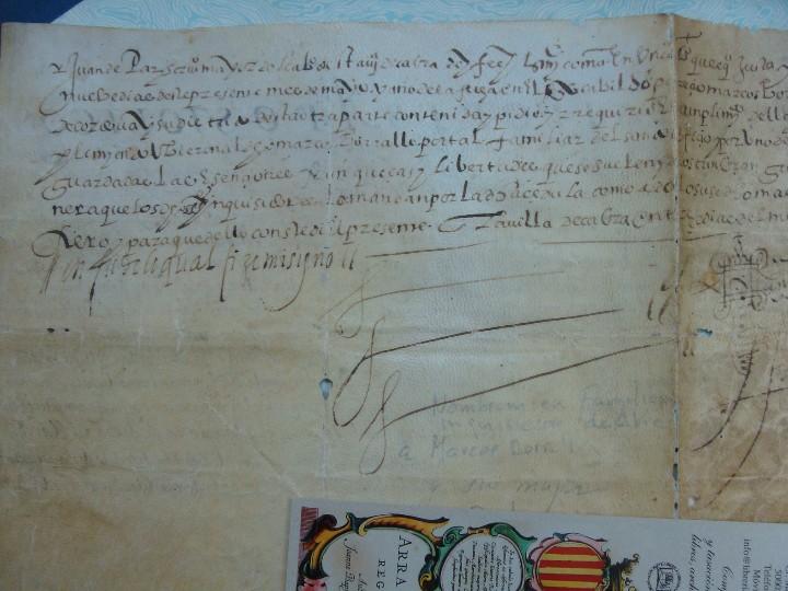 Manuscritos antiguos: 1594. PERGAMINO. INQUISICIÓN. CABRA, CÓRDOBA. NOMBRAMIENTO, SELLO, FIRMAS. - Foto 10 - 103705011