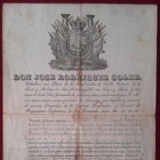 Manuscritos antiguos: LICENCIATURA Y SALVOCONDUCTO DE 1844 CON FIRMAS, ESCUDOS GRABADOS Y SELLO EN LACRE.. Lote 103961351