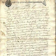 Manuscritos antiguos: P100-AÑO 1643 -MANUSCRITO -CON SELLO TERCERO DE TREINTA Y CUATRO MARAVEDIS . Lote 105074211