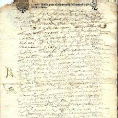 Manuscritos antiguos: P100-AÑO 1645 -MANUSCRITO -CON SELLO TERCERO DE TREINTA Y CUATRO MARAVEDIS . Lote 105074731