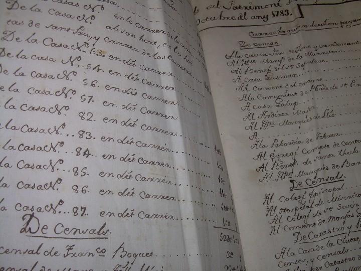 Manuscritos antiguos: IMPORTANTE MANUSCRITO DE 295 PAGINAS.BARCELONA.MISCELANEA DE PROPIEDADES.CALLE PLATERIA,CARRETAS ETC - Foto 5 - 105339195