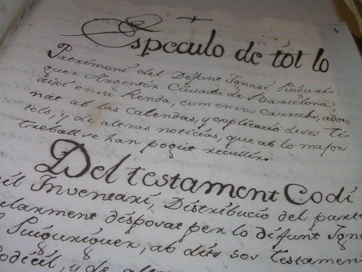 Manuscritos antiguos: IMPORTANTE MANUSCRITO DE 295 PAGINAS.BARCELONA.MISCELANEA DE PROPIEDADES.CALLE PLATERIA,CARRETAS ETC - Foto 6 - 105339195