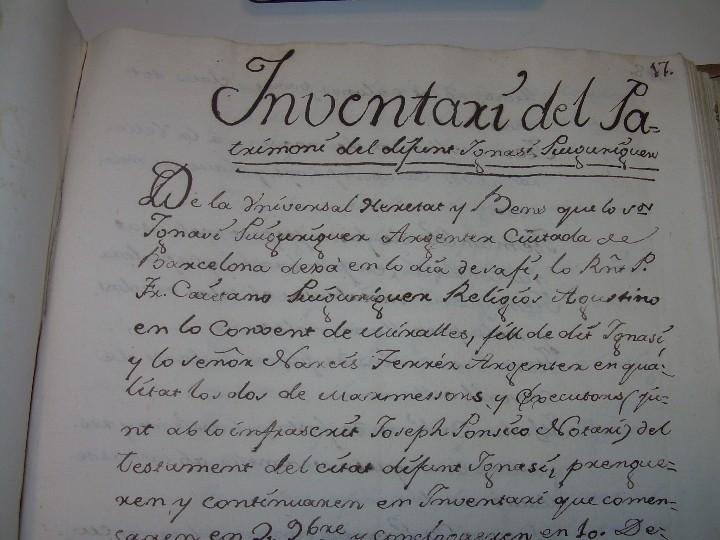 Manuscritos antiguos: IMPORTANTE MANUSCRITO DE 295 PAGINAS.BARCELONA.MISCELANEA DE PROPIEDADES.CALLE PLATERIA,CARRETAS ETC - Foto 10 - 105339195