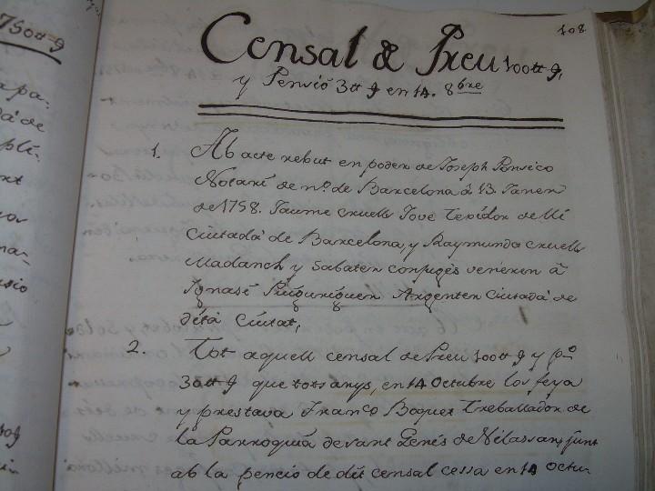 Manuscritos antiguos: IMPORTANTE MANUSCRITO DE 295 PAGINAS.BARCELONA.MISCELANEA DE PROPIEDADES.CALLE PLATERIA,CARRETAS ETC - Foto 19 - 105339195