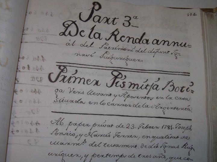 Manuscritos antiguos: IMPORTANTE MANUSCRITO DE 295 PAGINAS.BARCELONA.MISCELANEA DE PROPIEDADES.CALLE PLATERIA,CARRETAS ETC - Foto 20 - 105339195