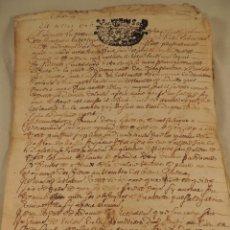 Manuscritos antiguos: DOCUMENTO NOTARIAL EN PERGAMINO AÑO 1706. Lote 105835191