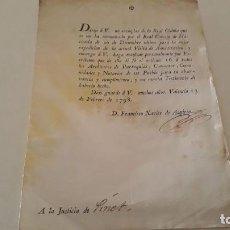 Manuscritos antiguos: DOCUMENTO INTENDENTE FRANCISCO JAVIER AZPIROZ DESAMORTIZACIÓN DE GODOY 1798 REINO DE VALENCIA XVIII. Lote 105994691