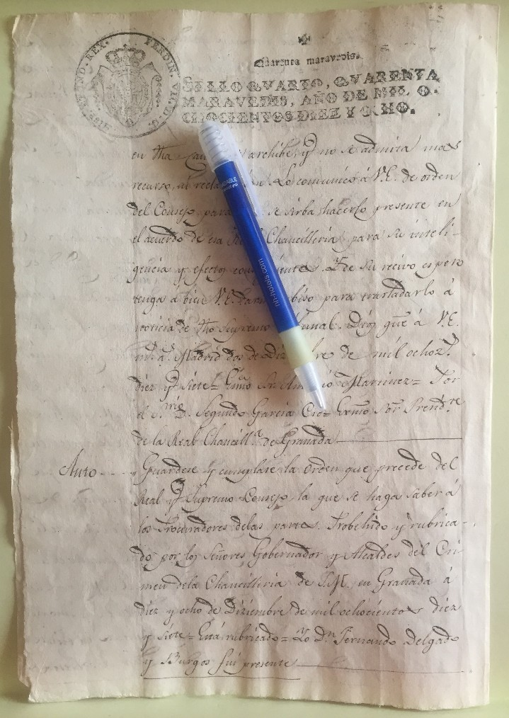 Manuscritos antiguos: LORCA- MURCIA- MANUSCRITO- JUDICIAL -MARIANO BARRANCO- CORONEL EXERCITOS- AÑO 1.818 - Foto 2 - 106978927