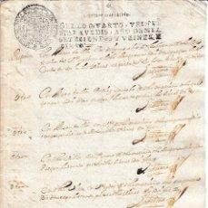 Manuscritos antiguos: 1725. SELLO FISCAL 4º DOCUMENTO MANUSCRITO SELLADO. PAPEL TIMBRADO. Lote 107368455