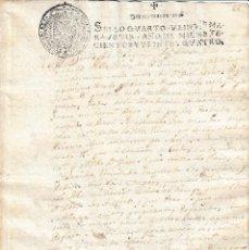 Manuscritos antiguos: 1724. SELLO FISCAL 4º DOCUMENTO MANUSCRITO SELLADO. PAPEL TIMBRADO. Lote 107368647