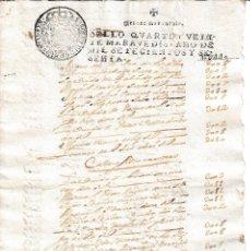 Manuscritos antiguos: 1760 DOCUMENTO MANUSCRITO, PAPEL SELLADO FISCAL SELLO 4º DE 20 MARAVEDIS. CARLOS III. Lote 107446723