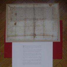 Manuscritos antiguos: FACSÍMIL (CARTA PRIVILEGIOS REYES CATÓLICOS A ALCÁNTARA EN 1498) CON TRANSCRIPCIÓN. COLOR.. Lote 145605064