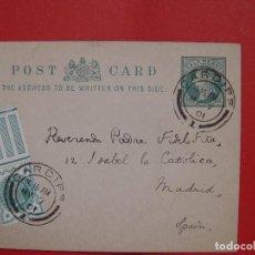 Manuscritos antiguos: TARJETA POSTAL (1901) FIDEL FITA Y DODGSON. CARDIFF. CON SELLOS ¡EJEMPLAR HISTÓRICO! COLECCIONISTA. Lote 107789363
