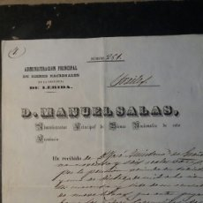 Manuscritos antiguos: LERIDA, DOCUMENTO ANTIGUO 1848. Lote 107842592