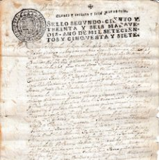 Manuscritos antiguos: 1757 SANTIAGO DE COVELO (PONTEVEDRA) SELLO FISCAL 2º FAMILIAR SANTO OFICIO DOCUMENTO MANUSCRITO. Lote 108830007