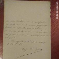 Manuscritos antiguos: DOCUMENTO CON FIRMA DEL POLITICO SENADOR LIBERAL POR CIUDAD REAL, DIEGO JARAUA, NACIDO EN SOLSONA. Lote 108904791