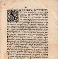Manuscritos antiguos: 1753 FERNANDO VI. APOSTOLICO Y REAL HOSPITAL GENERAL E MALLORCA CUSAS PRESBITEROS. DOCUMENTO IMPRESO. Lote 109494267