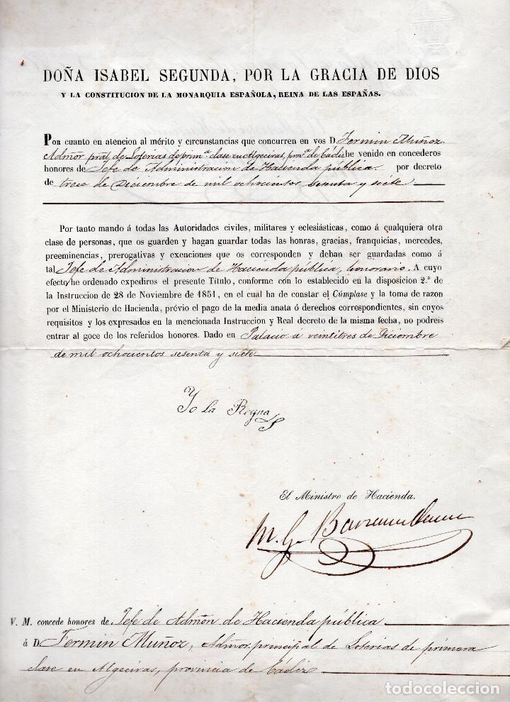 Manuscritos antiguos: LOTE.CONCEDE JEFE ADMINISTRACIÓN LOTERÍA PÚBLICA.ALGECIRAS.CADIZ. 1866 FIRMA ORIGINAL M.D.HACIENDA. - Foto 2 - 110133495