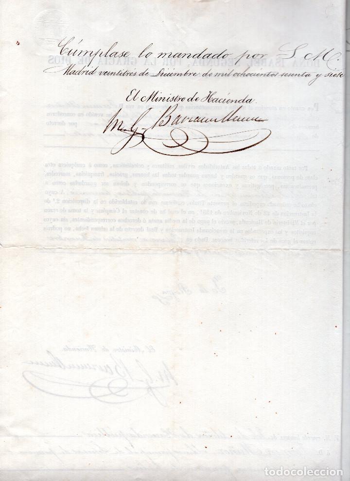 Manuscritos antiguos: LOTE.CONCEDE JEFE ADMINISTRACIÓN LOTERÍA PÚBLICA.ALGECIRAS.CADIZ. 1866 FIRMA ORIGINAL M.D.HACIENDA. - Foto 3 - 110133495