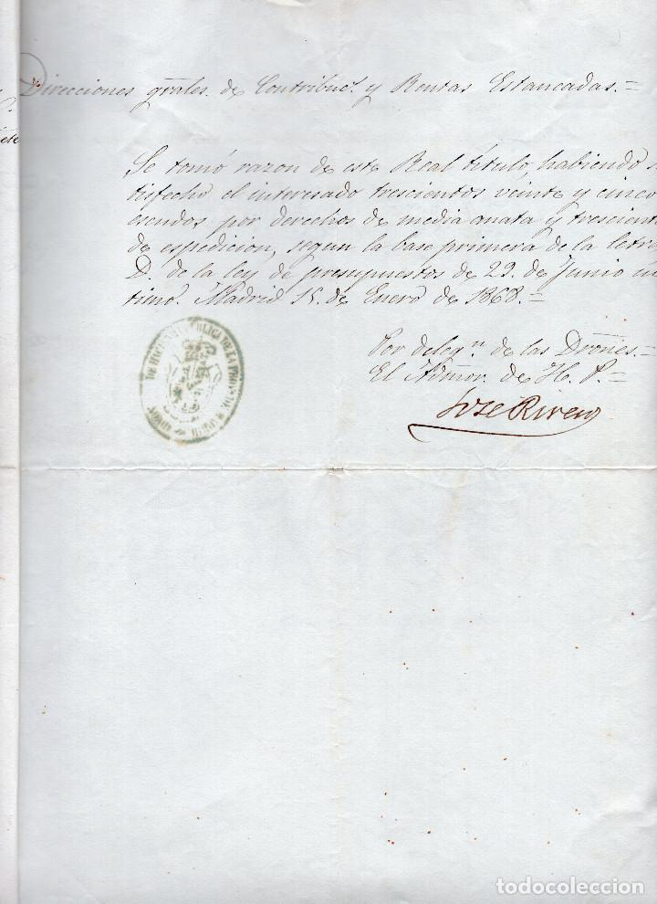 Manuscritos antiguos: LOTE.CONCEDE JEFE ADMINISTRACIÓN LOTERÍA PÚBLICA.ALGECIRAS.CADIZ. 1866 FIRMA ORIGINAL M.D.HACIENDA. - Foto 4 - 110133495
