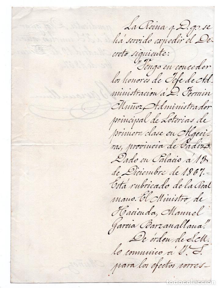 Manuscritos antiguos: LOTE.CONCEDE JEFE ADMINISTRACIÓN LOTERÍA PÚBLICA.ALGECIRAS.CADIZ. 1866 FIRMA ORIGINAL M.D.HACIENDA. - Foto 6 - 110133495