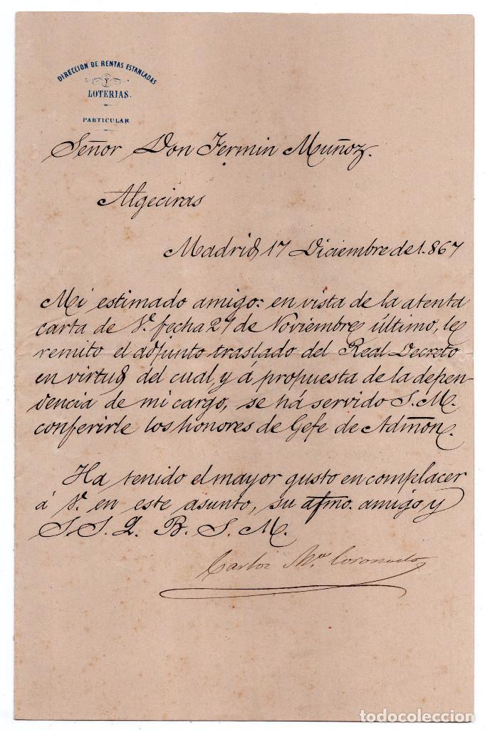 Manuscritos antiguos: LOTE.CONCEDE JEFE ADMINISTRACIÓN LOTERÍA PÚBLICA.ALGECIRAS.CADIZ. 1866 FIRMA ORIGINAL M.D.HACIENDA. - Foto 7 - 110133495