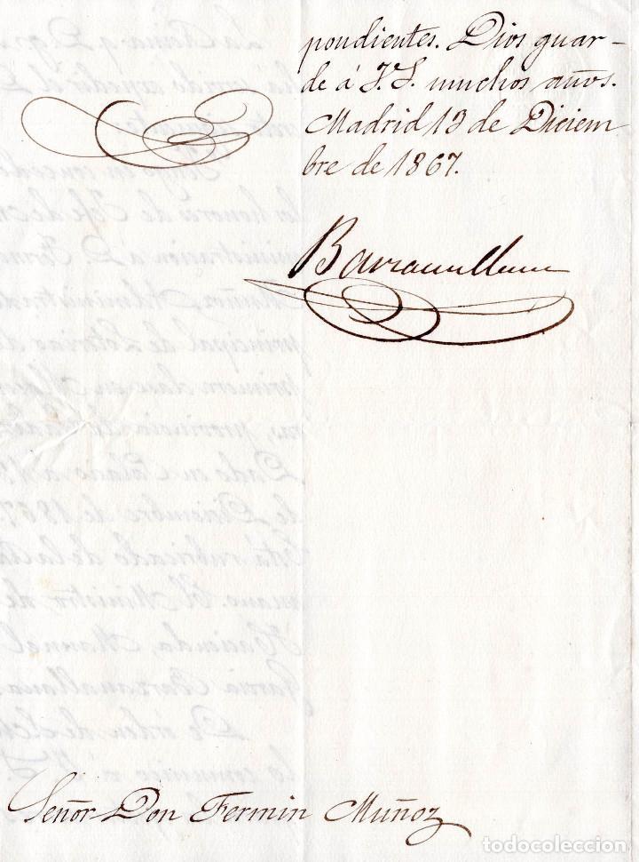 Manuscritos antiguos: LOTE.CONCEDE JEFE ADMINISTRACIÓN LOTERÍA PÚBLICA.ALGECIRAS.CADIZ. 1866 FIRMA ORIGINAL M.D.HACIENDA. - Foto 8 - 110133495