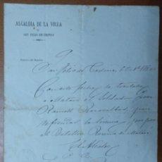 Manuscritos antiguos: NOTIFICACION DE LA ALCALDIA SAN FELIU CODINAS TRASLADO DE UN SOLDADO A MATARO 1880. Lote 111670619