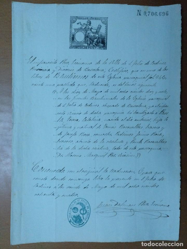 CERTIFICADO DE BAUTISMO DEL PARROCO JUAN DALMAU DE SAN FELIU DE CODINAS 1884 (Coleccionismo - Documentos - Manuscritos)