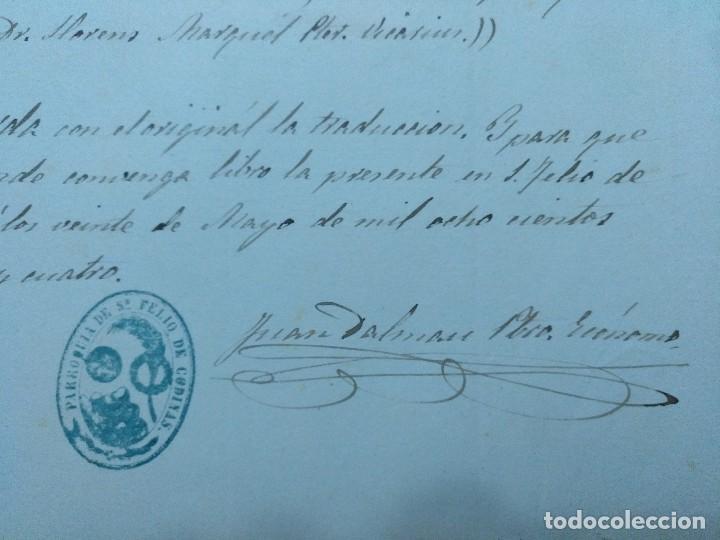 Manuscritos antiguos: CERTIFICADO DE BAUTISMO DEL PARROCO JUAN DALMAU DE SAN FELIU DE CODINAS 1884 - Foto 2 - 111670719
