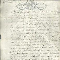 Manuscritos antiguos: HIDALGUÍA DE LOS DÍEZ FALCÓN SEVILLA - SAN ROMÁN VALDEOSERA 1826 SELLO PLACA. Lote 112164411