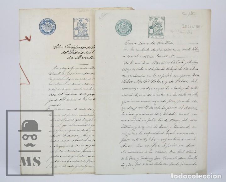 MANUSCRITOS REGISTRO PROPIEDAD CON TIMBRES ESTADO- SAN GERVASIO DE CASSOLAS /GERVASI, BARCELONA,1914 (Coleccionismo - Documentos - Manuscritos)