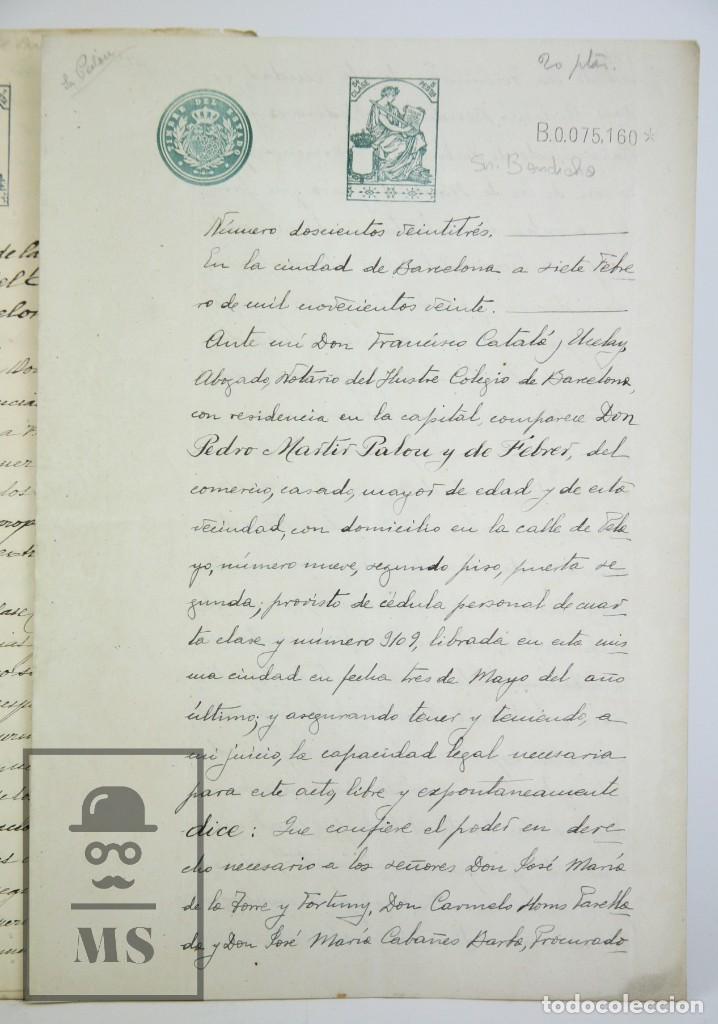 Manuscritos antiguos: Manuscritos Registro Propiedad con Timbres Estado- San Gervasio de Cassolas /Gervasi, Barcelona,1914 - Foto 2 - 112318539