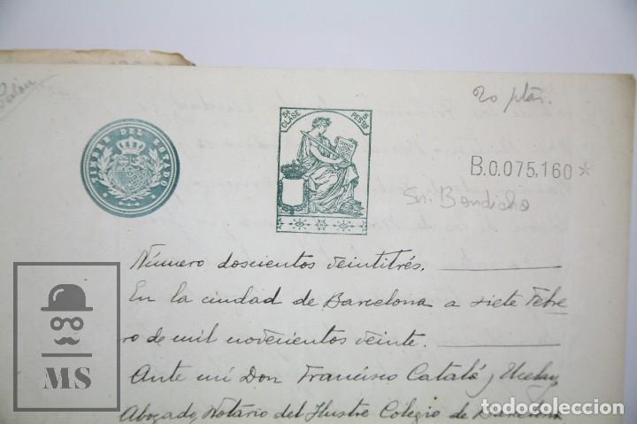 Manuscritos antiguos: Manuscritos Registro Propiedad con Timbres Estado- San Gervasio de Cassolas /Gervasi, Barcelona,1914 - Foto 3 - 112318539