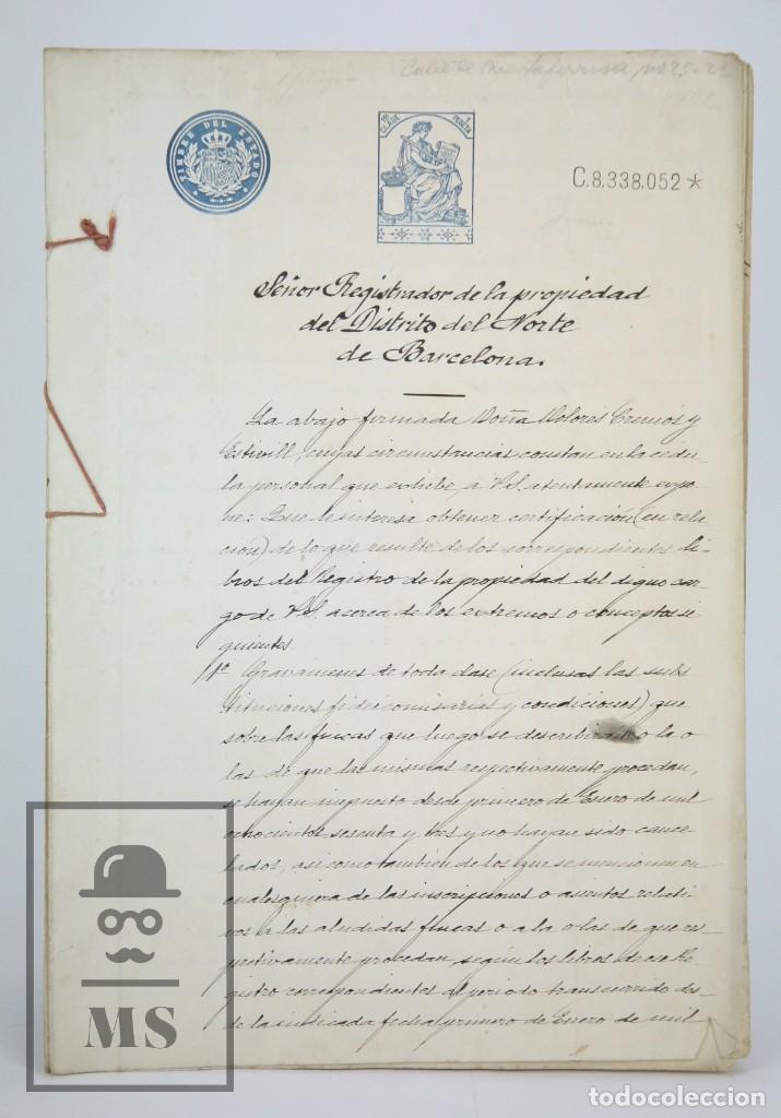 Manuscritos antiguos: Manuscritos Registro Propiedad con Timbres Estado- San Gervasio de Cassolas /Gervasi, Barcelona,1914 - Foto 5 - 112318539