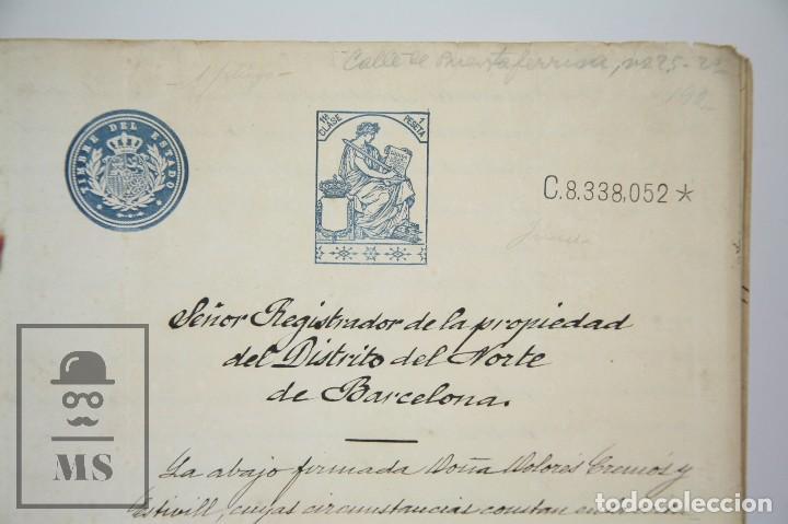 Manuscritos antiguos: Manuscritos Registro Propiedad con Timbres Estado- San Gervasio de Cassolas /Gervasi, Barcelona,1914 - Foto 6 - 112318539