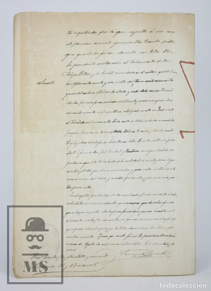 Manuscritos antiguos: Manuscritos Registro Propiedad con Timbres Estado- San Gervasio de Cassolas /Gervasi, Barcelona,1914 - Foto 9 - 112318539