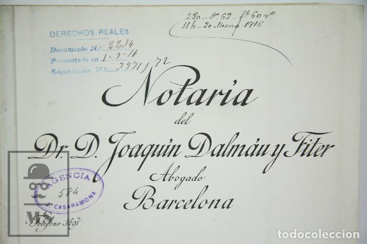 Manuscritos antiguos: Manuscrito Notarial - Redención de Censo y Venta de Agua por D. Manuel Vidal-Quadras, Año 1916 - Foto 2 - 112320735