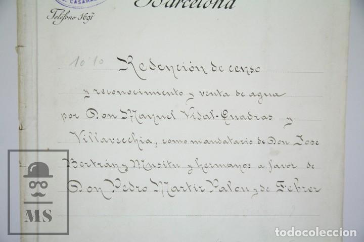 Manuscritos antiguos: Manuscrito Notarial - Redención de Censo y Venta de Agua por D. Manuel Vidal-Quadras, Año 1916 - Foto 3 - 112320735