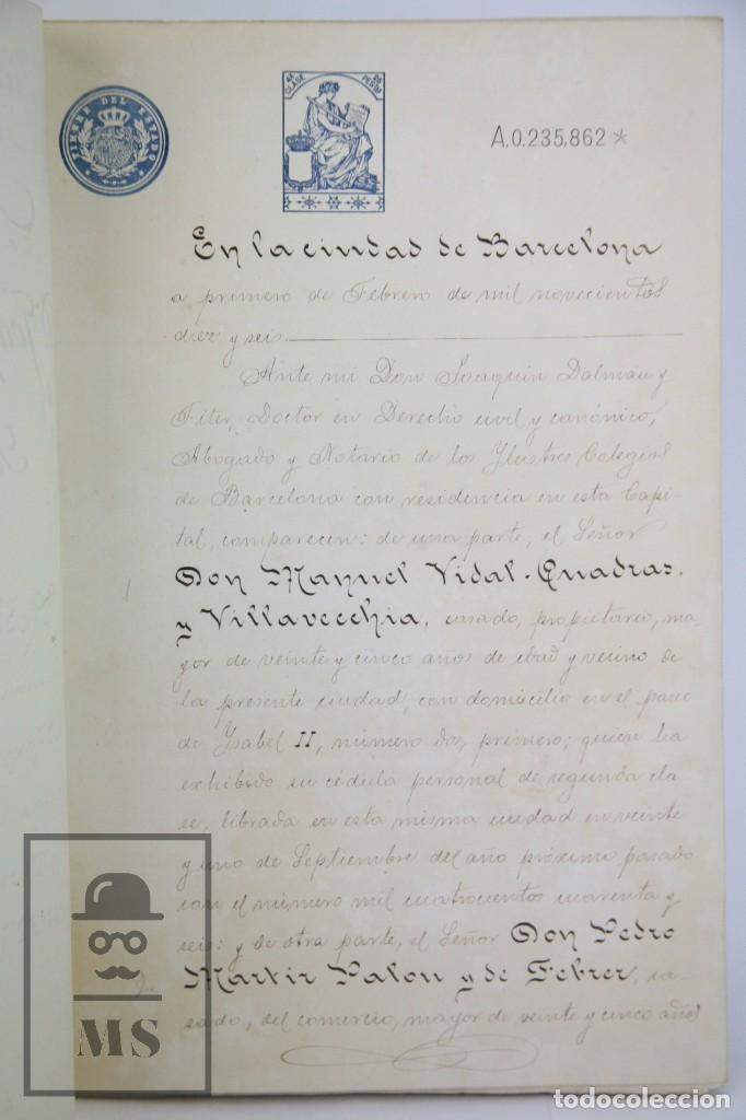Manuscritos antiguos: Manuscrito Notarial - Redención de Censo y Venta de Agua por D. Manuel Vidal-Quadras, Año 1916 - Foto 4 - 112320735