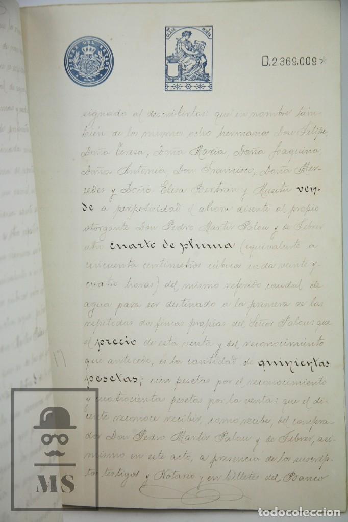 Manuscritos antiguos: Manuscrito Notarial - Redención de Censo y Venta de Agua por D. Manuel Vidal-Quadras, Año 1916 - Foto 6 - 112320735