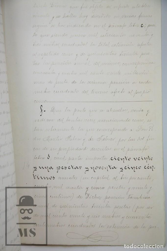 Manuscritos antiguos: Manuscrito Notarial - Redención de Censo y Venta de Agua por D. Manuel Vidal-Quadras, Año 1916 - Foto 7 - 112320735