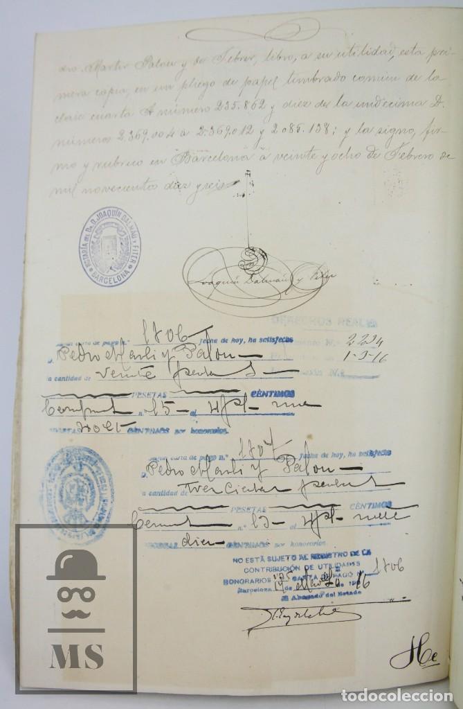 Manuscritos antiguos: Manuscrito Notarial - Redención de Censo y Venta de Agua por D. Manuel Vidal-Quadras, Año 1916 - Foto 8 - 112320735