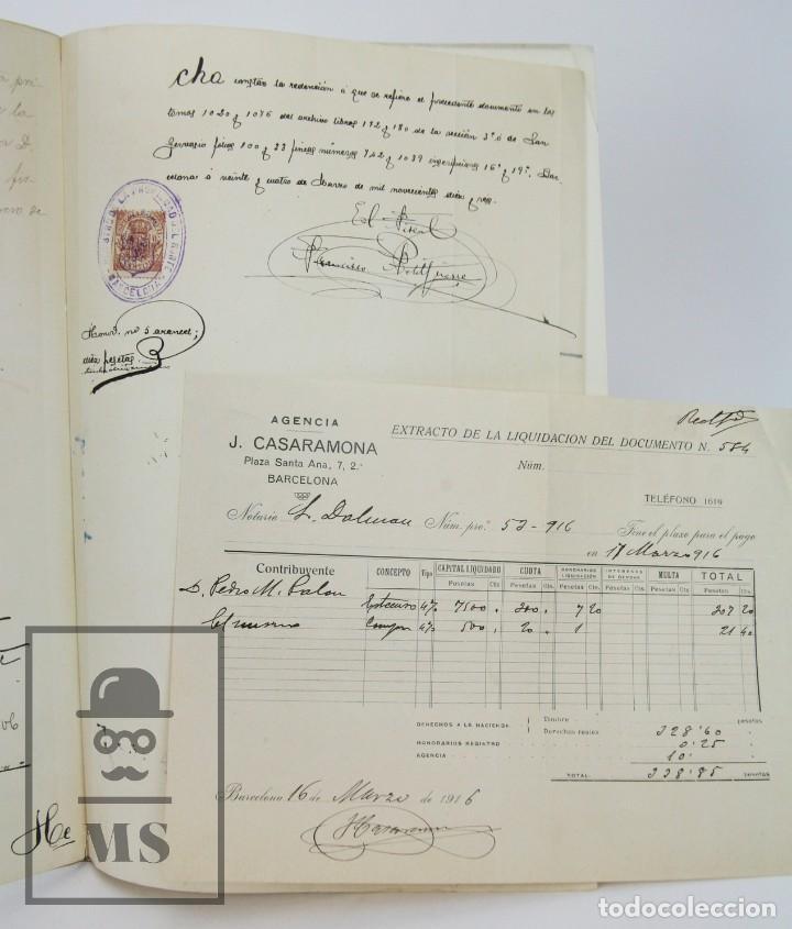 Manuscritos antiguos: Manuscrito Notarial - Redención de Censo y Venta de Agua por D. Manuel Vidal-Quadras, Año 1916 - Foto 9 - 112320735