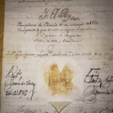 Manuscritos antiguos: FIRMA REAL FERNANDO 6, CON SELLO REAL. Lote 112662215