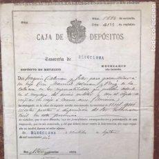 Manuscritos antiguos: CERTIFICADO MANUSCRITO 1906 CAJA DEPOSITOS BARCELONA TESORERIA FIRMA GOBERNADOR CIVIL AUTENTICA. Lote 112903204