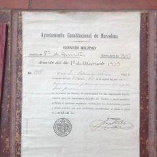 Manuscritos antiguos: AYUNTAMIENTO CONSTITUCIONAL DE BARCELONA SERVICIO MILITAR QUINTAS REEMPLAZO 1903 MANUSCRITO. Lote 112911422